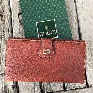 Gucci 1980s Leather Long Wallet
